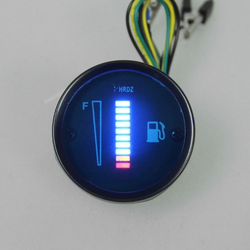 """1 шт. """" 52 мм Универсальный Автомобильный мотоцикл измеритель уровня топлива 8 Светодиодный светильник дисплей 12 В"""