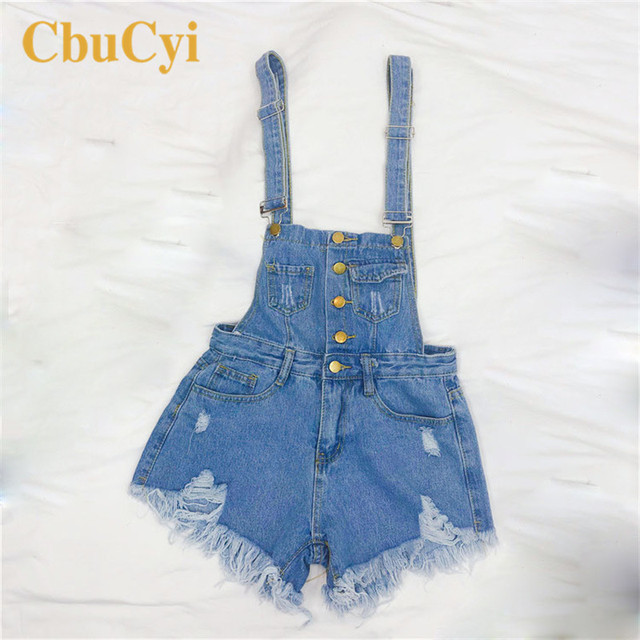 CbuCyi Fashion Denim Overalls for Women Jumpsuit Female Denim Rompers Womens Playsuit Salopette Straps Overalls Shorts Rompers 4