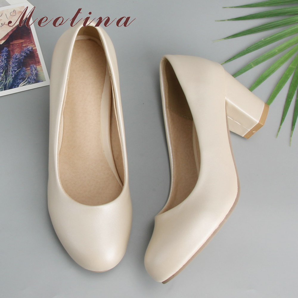 Meotina Women Shoes High Heels Round Toe Office Work Shoes Chunky Heels Women Pumps Ladies Shoes Beige Large Size 9 10 42 43