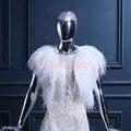 Nova chegada da pena de casamento mulheres jaqueta moda xales de noiva capa Bolero inverno Wraps de outono para as mulheres