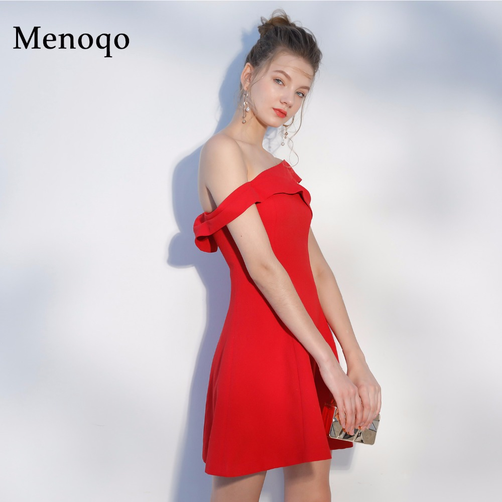 Menoqo Red   Cocktail     Dresses   2019 off the shoulder Simple Formal Vestidos Above Knee Length Sexy Prom   Dress   Short Party Gowns