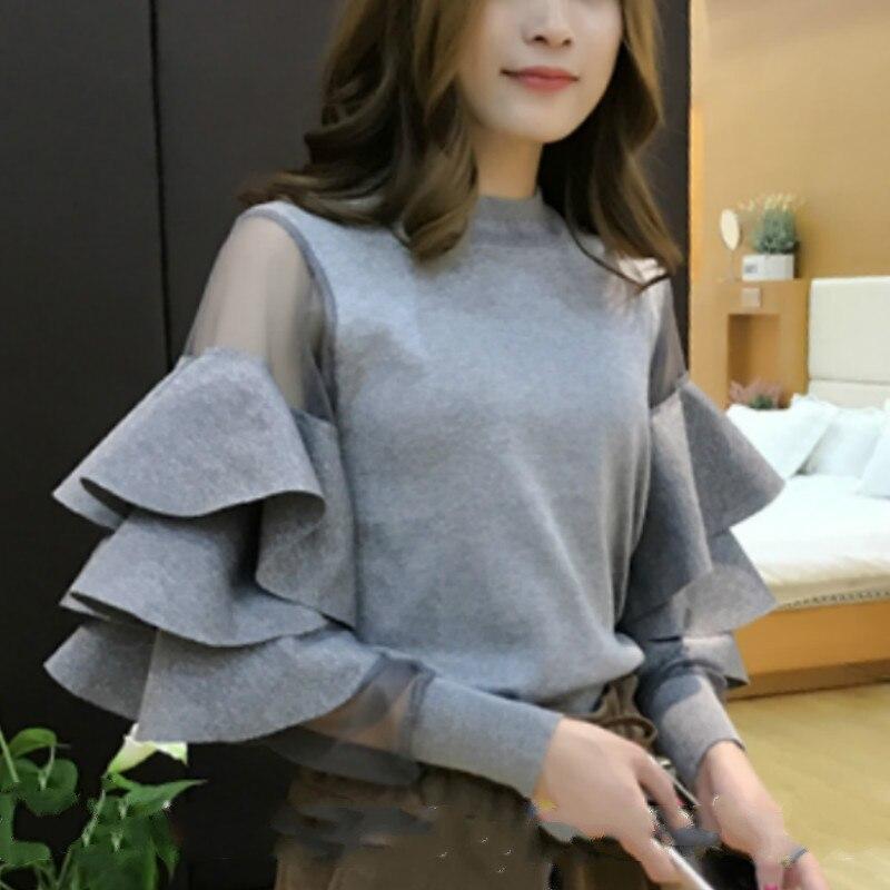 2019 Autumn Fashion Long Ruffles Sleeve Ruffles Sweaters Women Cake Sleeve Knitted Pullovers Women Ruffles Knitwear Sweater Tops