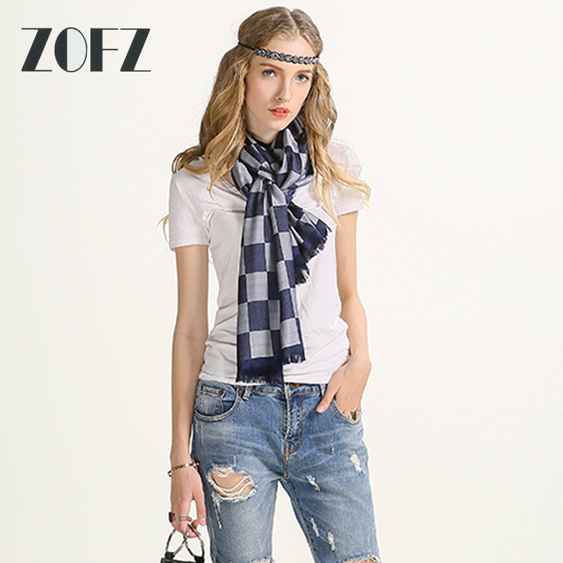 Scarf Luxury Brand High Quality Rayon Blue Gray Plaid Scarf/Cachecol Women Soft Winter Scarf Fashion Female Scarves Z016S33