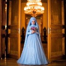 Blue Muslim Wedding Dress Formal Long Sleeve Islamic Arabic Bridal Gown Luxury Applique Hijab Vestido De Noiva Wedding Gowns