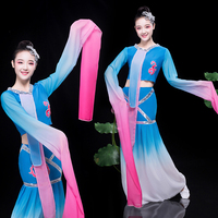 Traditional Women Water Sleeve Yangko Dance Costume Chinese Style Stage Performance Clothes Sexy Elegant Folk Dance Clothing