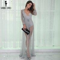 Missord 2017 Sexy Women Deep V Long Sleeve Glitter Backless Gorgeous Maxi Dress FT8560