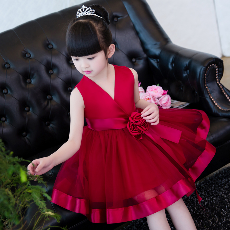 Wine Red Flower Girl Dress Knee-Length Princess Dresses Children Ball Gown Stain Summer Wedding Dress Kids Pageant Gown E218 new arrival fashion summer girls kids sleeveless flower dress elegant sweet children girls knee length ball gown dress