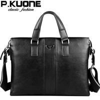 P Kuone Designer Brand 100 Cowhide Men Genuine Leather Handbags Man Leather Business Briefcase Laptop Bag