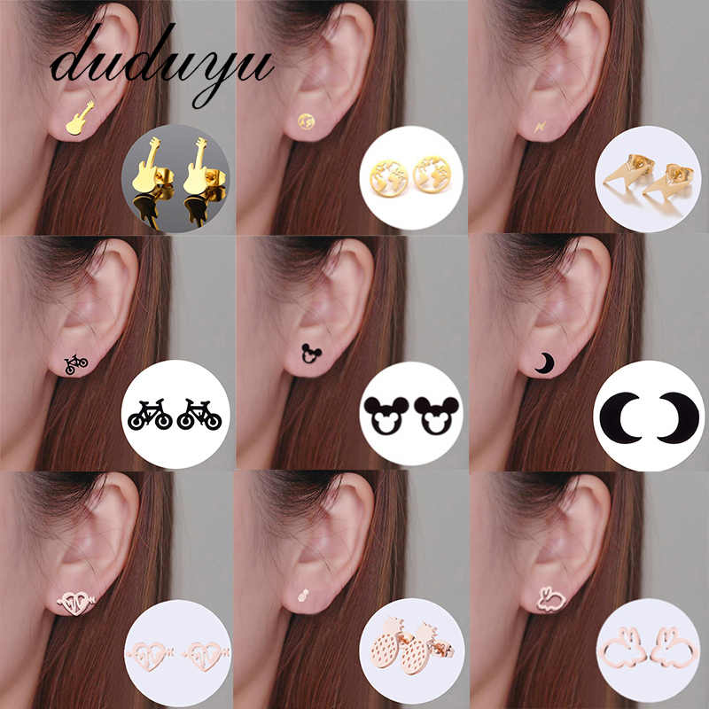 Hot Fashion Titanium Steel Korean Stud Earrings for Women Lightning Animal Geometry Girl Ear Gift Female Jewelry Wholesale