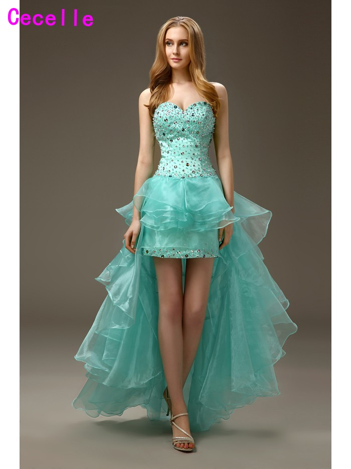 2019 Real Mint High Low Sheath Prom   Cocktail     Dresses   for Girls Sweetheart Beaded Crystals Junior Ruffles Organza   Cocktail     Dress