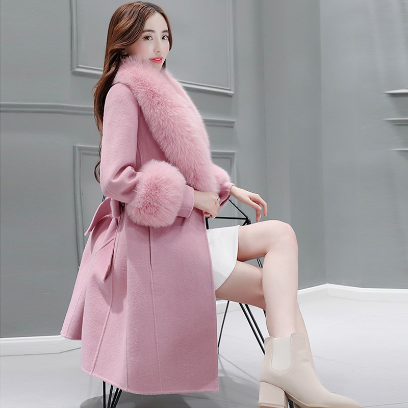 Фото jacket for pregnant High Quality Fashion Slim Cashmere Coat  Winter Woolen Coat  Women Mid Long Section Imitation fo Wool cuffs