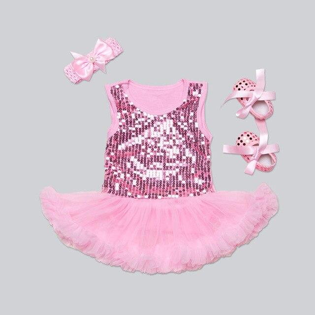 33fc0affa Bling Baby Girl Dress European Style Newborn Dress + Shoes + Hair ...