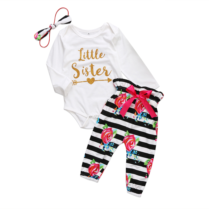 New Lovely Newborn Kids Baby Girls Clothes Long Sleeve Romper Tops Floral Striped Long Pants Outfits 3Pcs Set