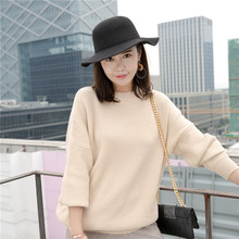 JECH 2017 Autumn Fashion Women Casual Solid Color Loose Long Batwing Sleeve O-Neck Warmth Pullovers Sweater Cashmere sweater