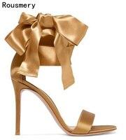 Lato 2017 New Arrival Kobiety Moda Złoty/Czarny Jedwab Otwarte Toe Lace Up Duży Łuk Znać Motyl Szpilki Sandały Sukienka buty