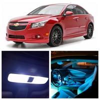 8pcs For Chevy Chevrolet Cruze 2010 2015 White LED Light Ice Blue Bulbs Interior Package Kit