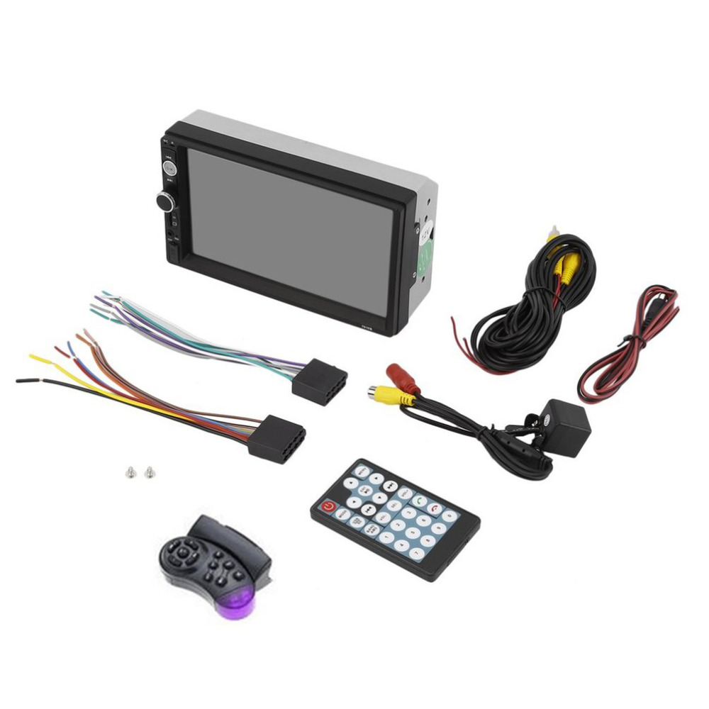 Double Din 7 inch Car MP5 Multimedia Player Radio Touch Screen Bluetooth FM USB AUX Support Rear View Camera Remote Control 7 inch car radio gps mp5 video player rear camera bluetooth navigation 2 din touch screen remote control visture v7020g
