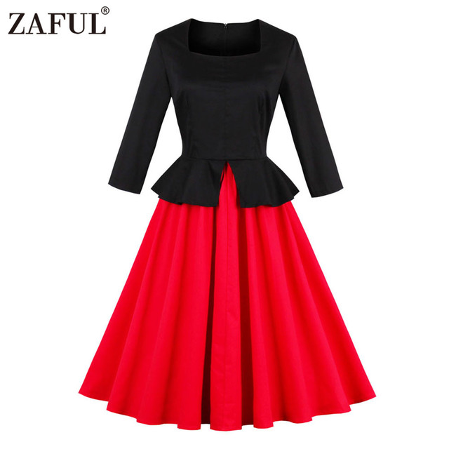 138a4acccd8cf ZAFUL Plus Size 60s Hepburn Vintage Women Dress Black Red Mix Color Round  Neck Long Sleeves Retro Dress Party Feminino Vestidos