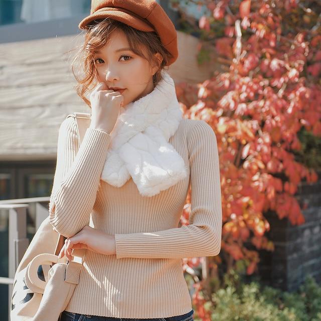 Dabuwawa Women Faux Rabbit Fur Warm Scarf for Down Coats Thicken White Soft Comfortable Winter Neck Warmer Shawl for Female Girl