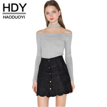 HDY Haoduoyi Halter Slash neck full sleeve lady slim tops Off shoulder sexy women T-shirts for wholesale(China)