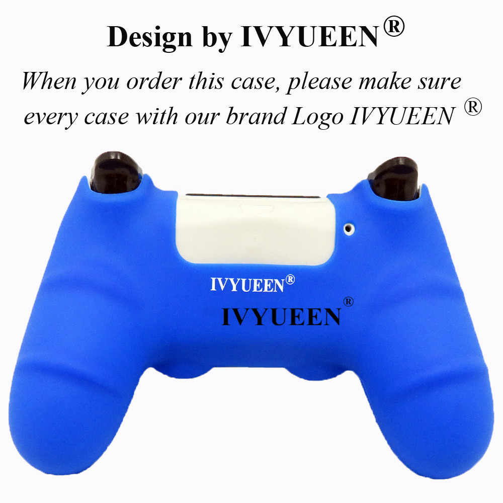 Силиконовый Противоскользящий чехол IVYUEEN для playstation 4 PS4 Pro, тонкий чехол для контроллера с рукояткой для большого пальца, колпачки для Dualshock 4