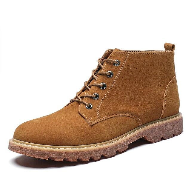 Süet Deri Erkek Çizmeler Sonbahar Kış erkek yarım çizmeler Ayakkabı Dantel Up Yeni Marka rahat ayakkabılar Büyük Boyutu 38-48 kabul dropship