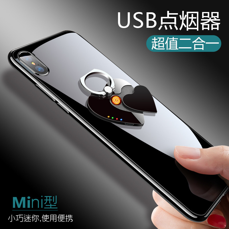 Creative With Battery Display Usb Charging Cigarette Lighter Love Mobile Phone Bracket Arc Pulse Charging Lighter Report