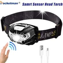 Ультра яркий светодиодный налобный фонарь с датчиком движения 5000лм USB перезаряжаемая головная лампа фара 5 режимов для бега, кемпинга, туризма и многого другого