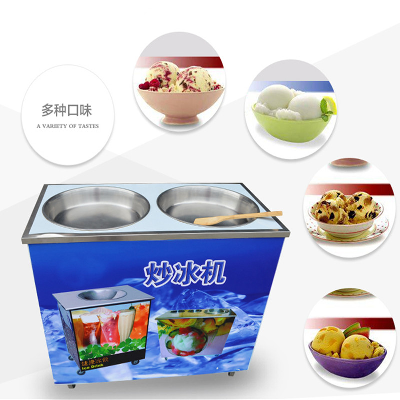 New commercial fried ice cream machine ice frying machines roll icecream maker ce fried ice cream machine stainless steel fried ice machine single round pan ice pan machine thai ice cream roll machine