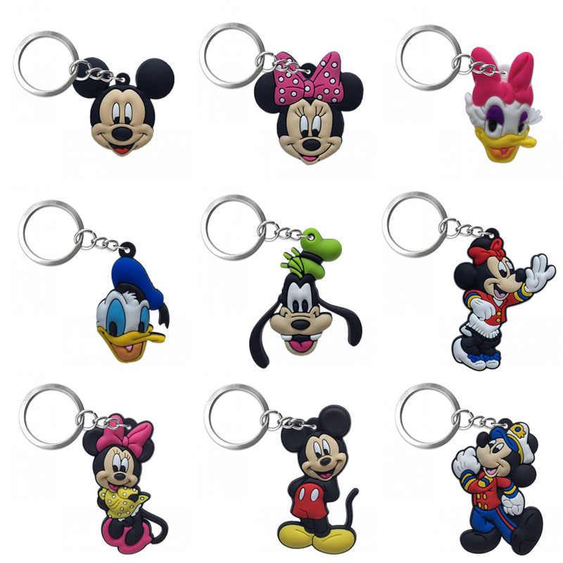 1-4 pçs pvc chaveiro figura dos desenhos animados mickey anime minnie chaveiro crianças brinquedo pingente chaveiro titular moda jóias