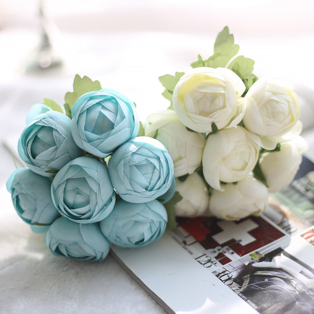 Artificial Flower Lotus Silk Flower 7PCS/Branch Pink Blue Rose Fake ...