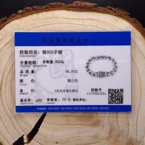 Image 5 - ZABRA Real 925 เงินสร้อยข้อมือ 12 มม.Smooth Flower ปลอดภัยล็อคภาษาโปลิชคำ Link Chain ชาย BIKER สร้อยข้อมือเงิน