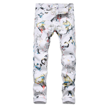 Sokotoo Men's flower character 3D printed white jeans Fashion slim fit stretch pants