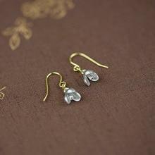 925 sterling silver Drop Earrings China designer original earrings handmade gold-color orchid hanging earrings for women