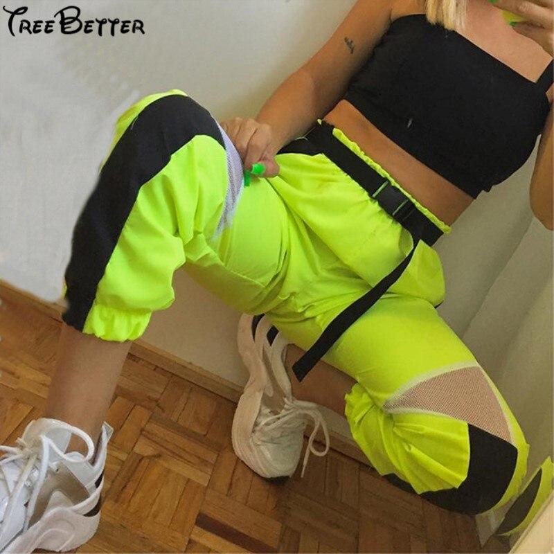Legging Pencil-Pants Jogger Mesh Patchwork Cargo Split Neon Green Black High-Waist Womens