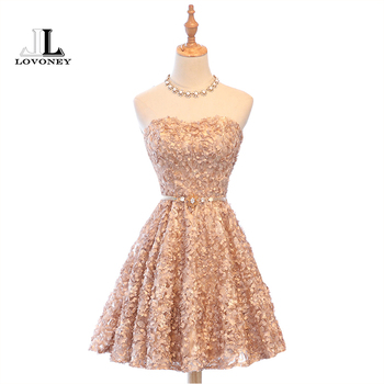 LOVONEY XYG702 A-Line Sweetheart Short Prom Dresses 2019 Sexy Backless Lace-Up Knee-Length Party Dresses Prom Gown Real Photos