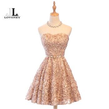 53711d5b6 LOVONEY XYG702 a-line Sweetheart corto vestidos de baile 2019 Sexy encaje  sin espalda-rodilla-longitud vestidos de fiesta vestido de fiesta fotos  reales