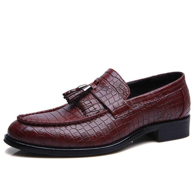 2017 Designer Brand Casual Wedding Party Dress Alligator  Leather Slip Flats Shoe Oxfords Tassel Loafers Men Shoes