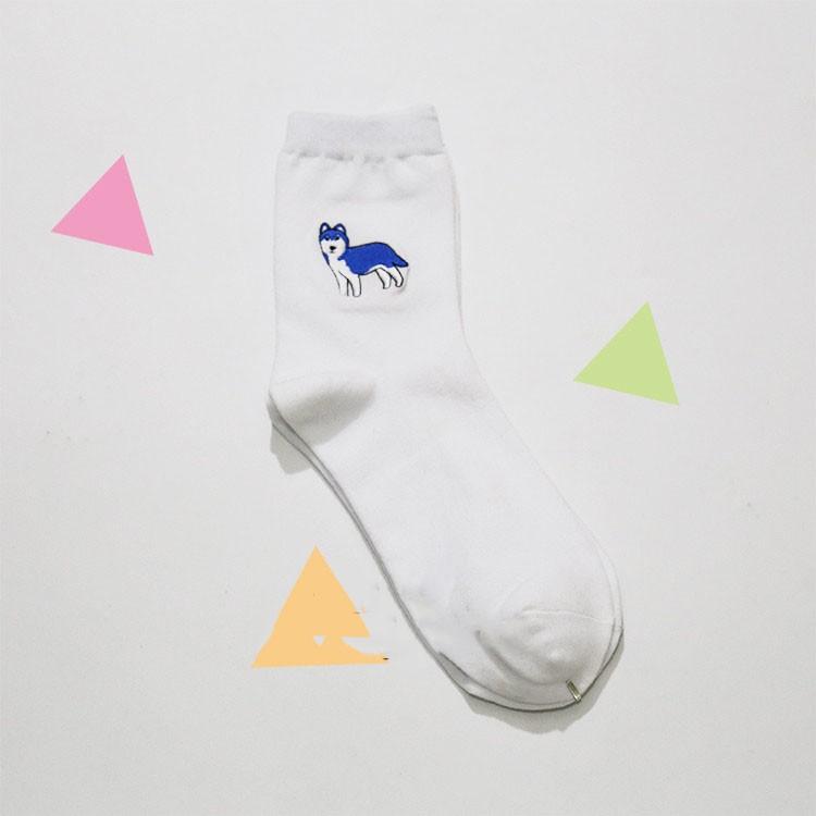 cute animal husky embroidery women cotton white socks lovely dog Jacquard female pure color socks funny kawaii pug meias soks 15