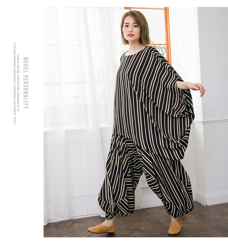 2018 female new summer korean plus size irregular shirt Harlan pants casual bars fashion loose set