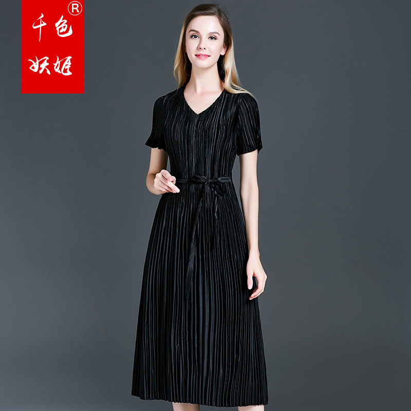 New Korean version of French belly covering dress summer 2019 miyake pleated dresses free shipping in Dresses from Women 39 s Clothing