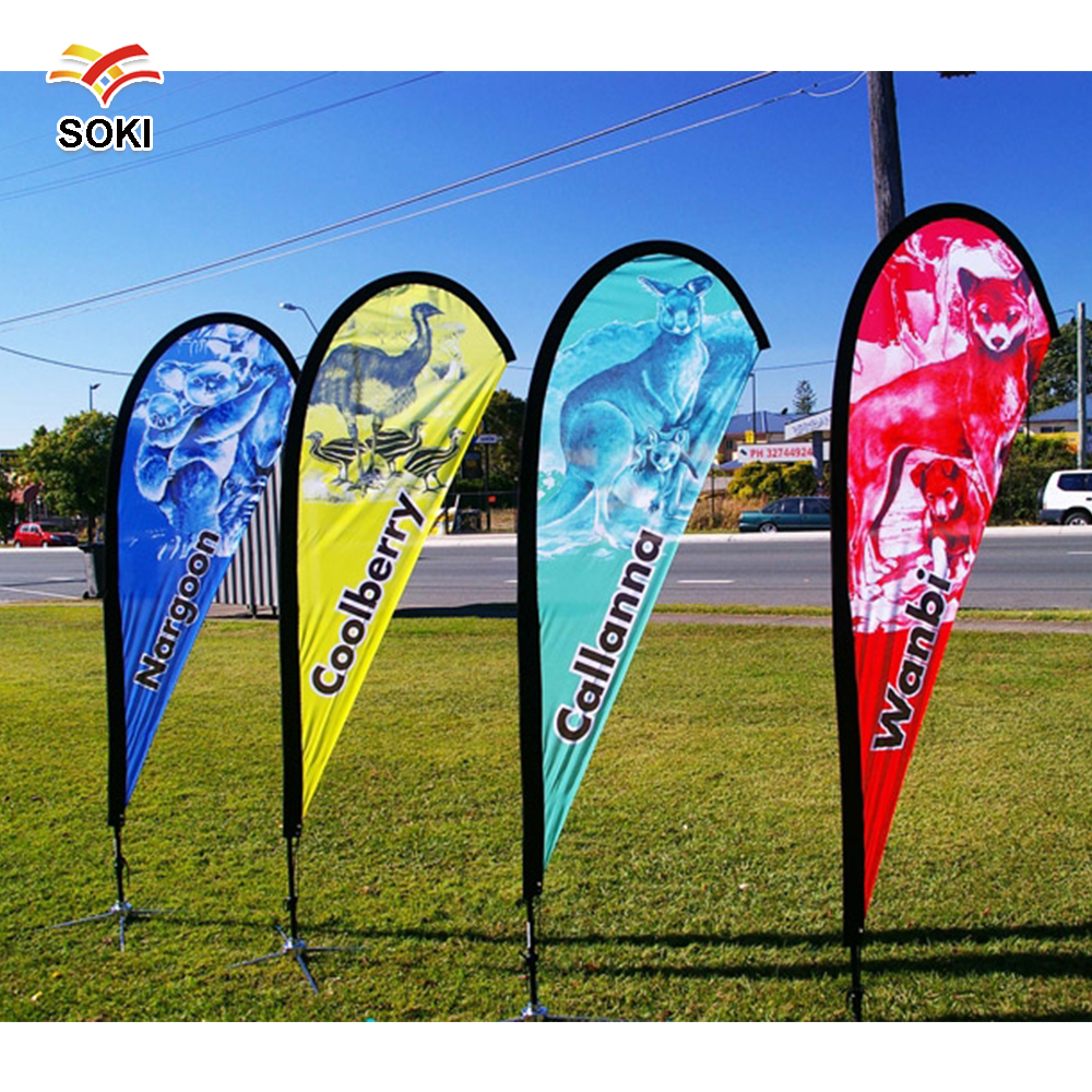 Teardrop Feather Banner 36m Aluminum Fiberglass Pole Flying Flag With Single Printing Cost In Flags Banners Accessories From Home Garden On