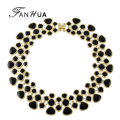 Statement Necklaces Collares 2016 Gold Color Black Blue Purple Green Enamel Maxi Collar Choker Necklaces For Women