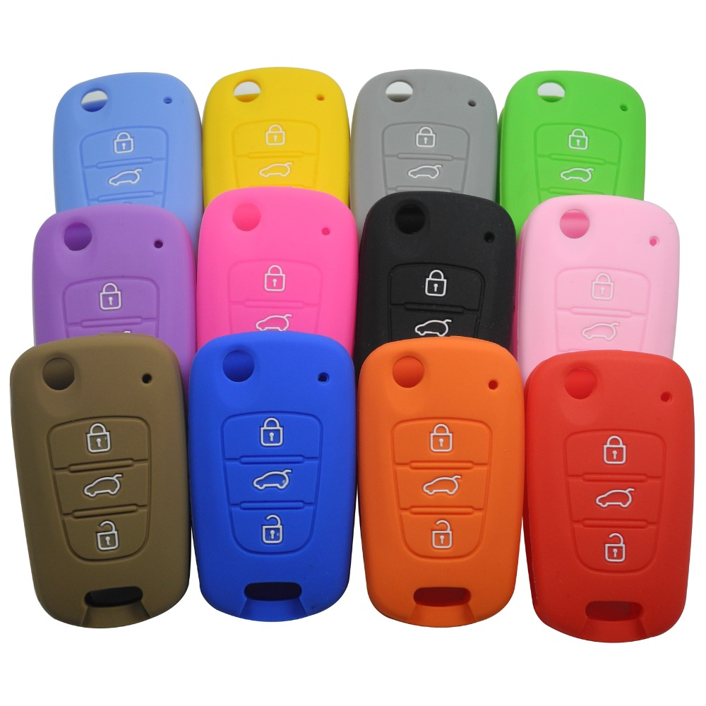 Silicone Flip Folding Key Case Cover Holder Protecting Bag For Kia K2 K5 Sportage Sorento SOUL Pro Ceed Cerato 3 Buttons