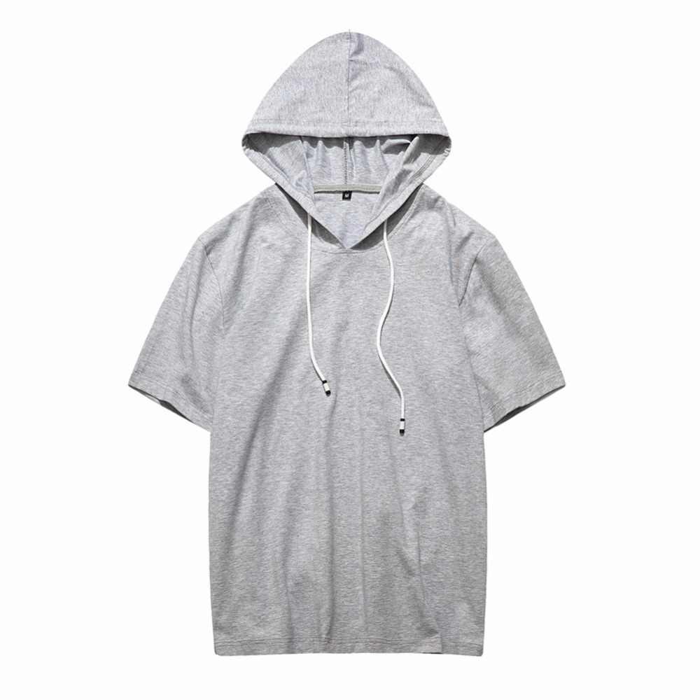 Sommer Männer Beiläufige Hoodies 2019 Mode Kurzarm Longline Pullover Hoodie Shirts Männlichen UNS Größe Feste Kapuze Streetwear Top