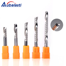 купить Aubalasti 6mm one Flute Spiral Cutter Router Bit CNC End Mill For MDF Carbide Milling Cutter Tugster Steel Router Bits for Wood дешево
