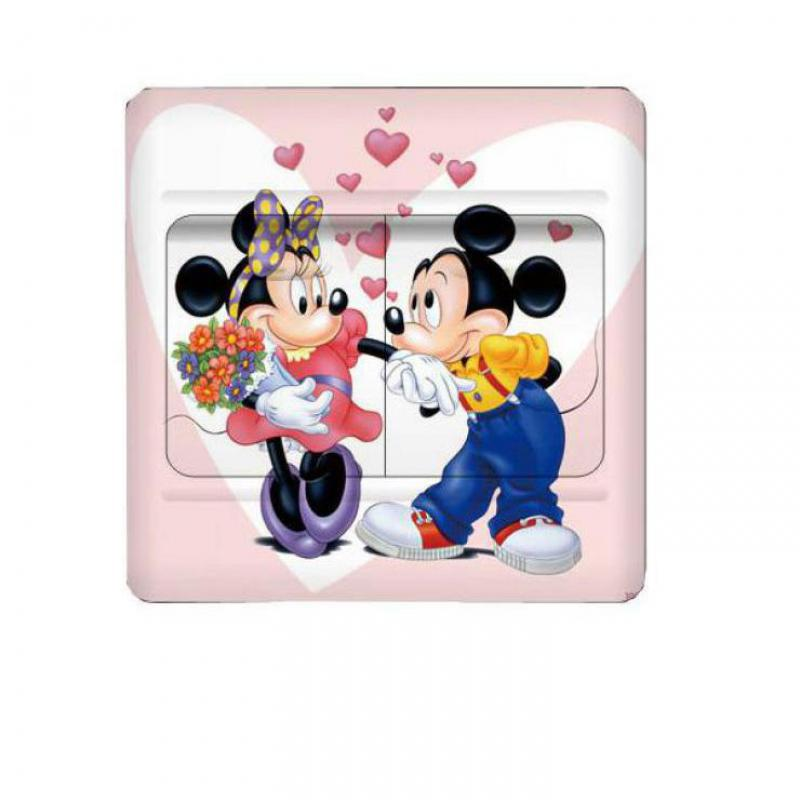 1 pcs Mickey Minnie Mouse cartoon Switch Sticker Wall Stickers For Kids Rooms Border Tiles For Bathrooms