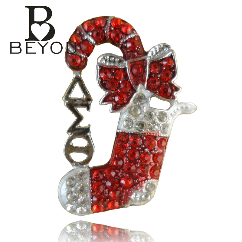 Newnest Delta Sigma Theta DST Crystal Christmas Lapel Pin brooch Free Shipping 1pc