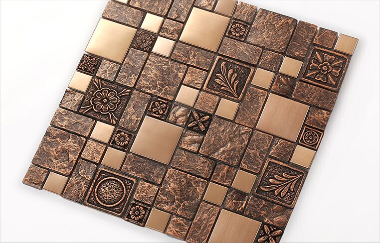 Copper brown resin sticker Fireplace kitchen backsplash wall tiles,Vintage drawbench metal mosaic meshback home wallpaper,LSRN03 платье remix remix mp002xw1afia
