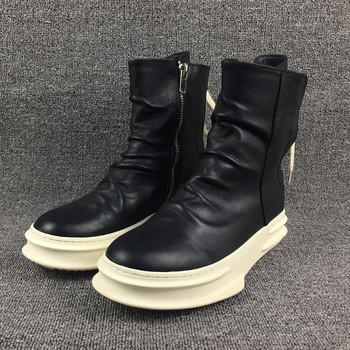 Genuine leather thick sole vintage Wrinkle leather denim western cowboy Boots back lace up trainer new men leather boot